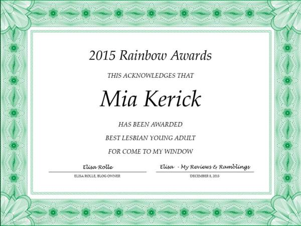 Rainbow Award for Come to my window- official one from Elisa